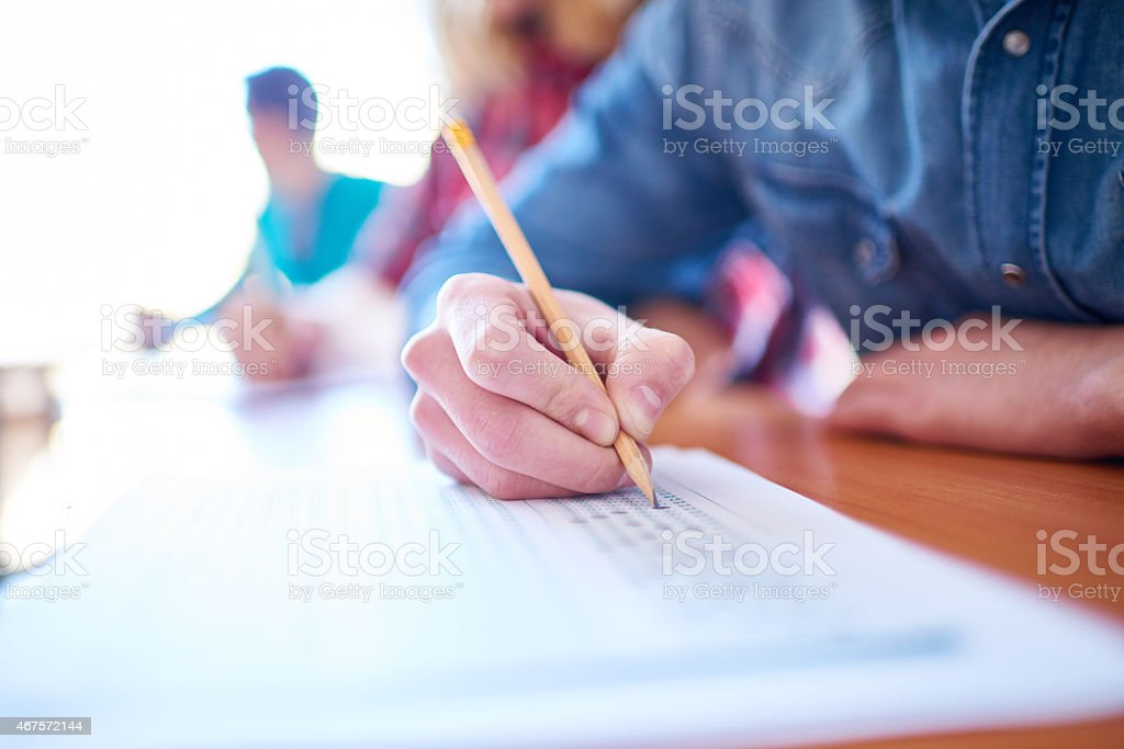Multiple-choice exam stock photo