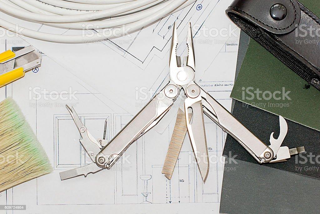 Multipurpose folding pocket knife and stock photo