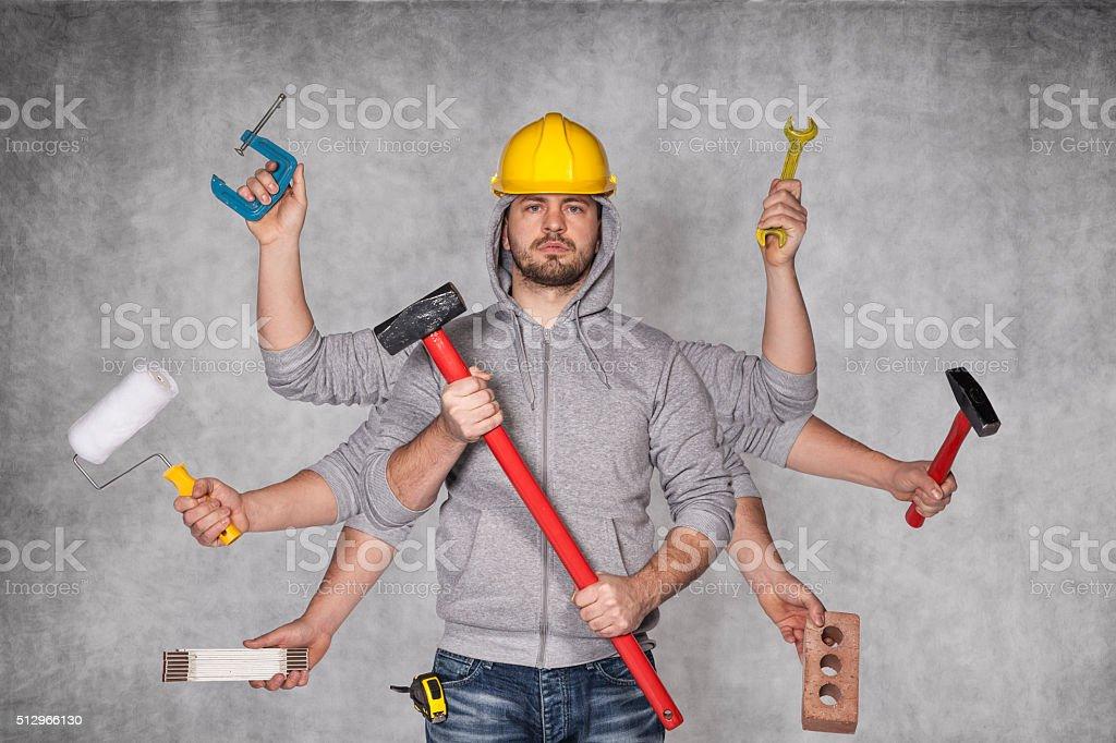 multipurpose man stock photo
