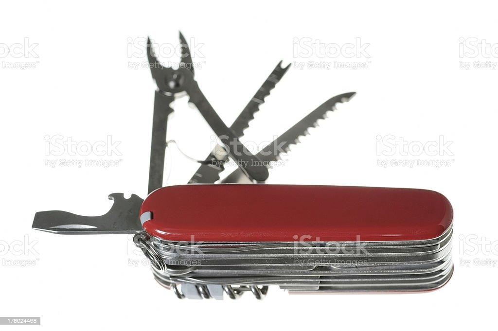 Multipurpose swiss army knife isolated white stock photo