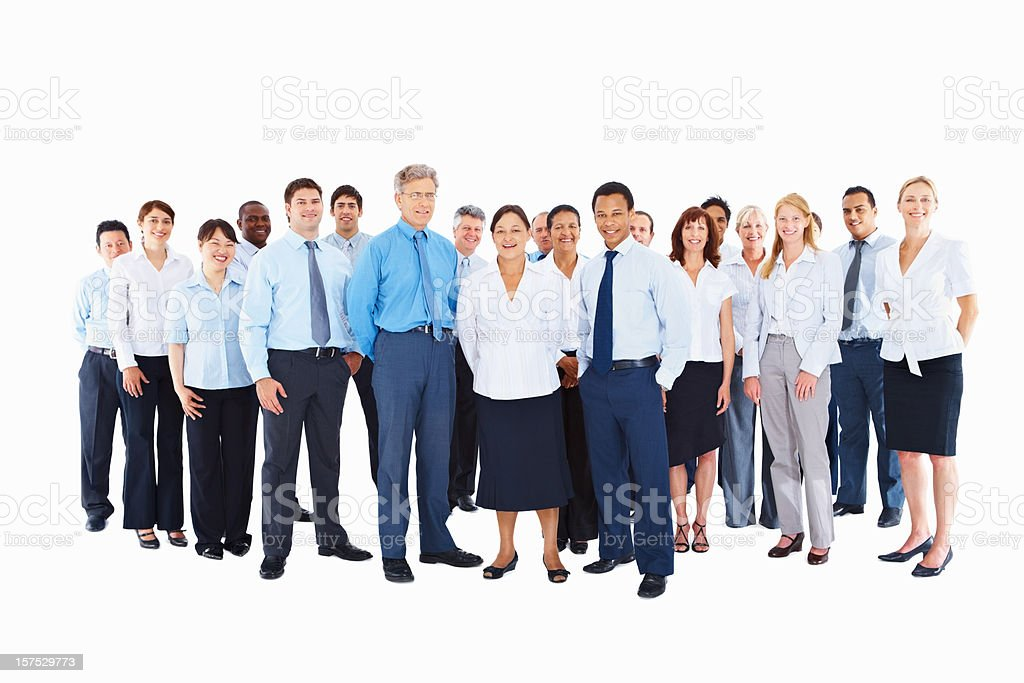 Multiracial business colleagues standing together royalty-free stock photo