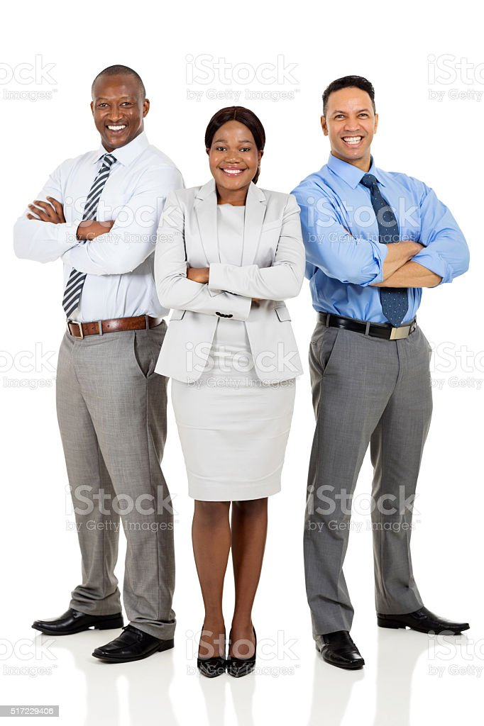 multiracial business group arms crossed stock photo