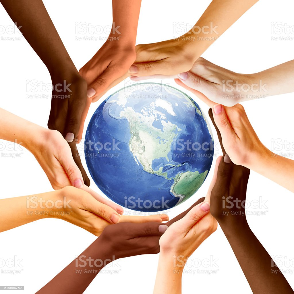Multiracial Concept and Earth Planet stock photo