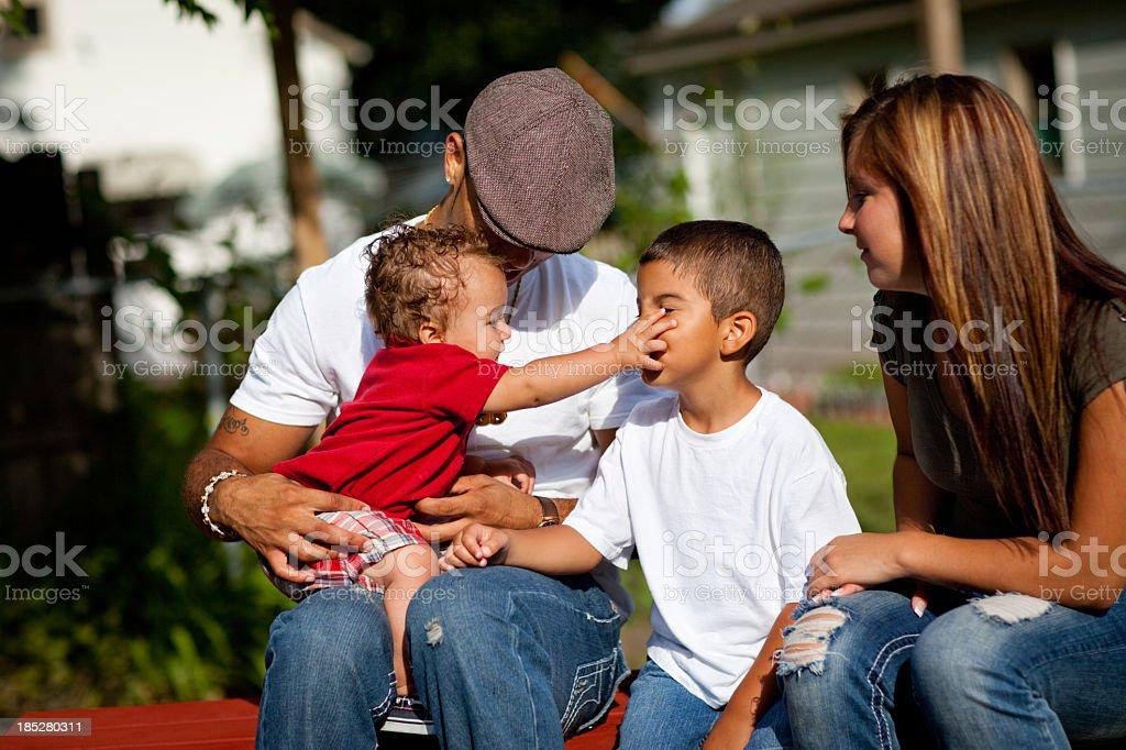 Multiracial Family on Sunny Day royalty-free stock photo