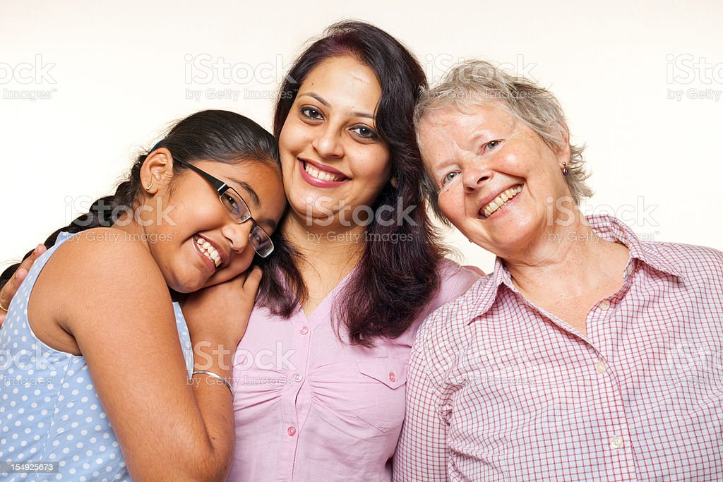 Multiracial Group Cheerful Caucasian Woman with Indian Mother and Daughter royalty-free stock photo