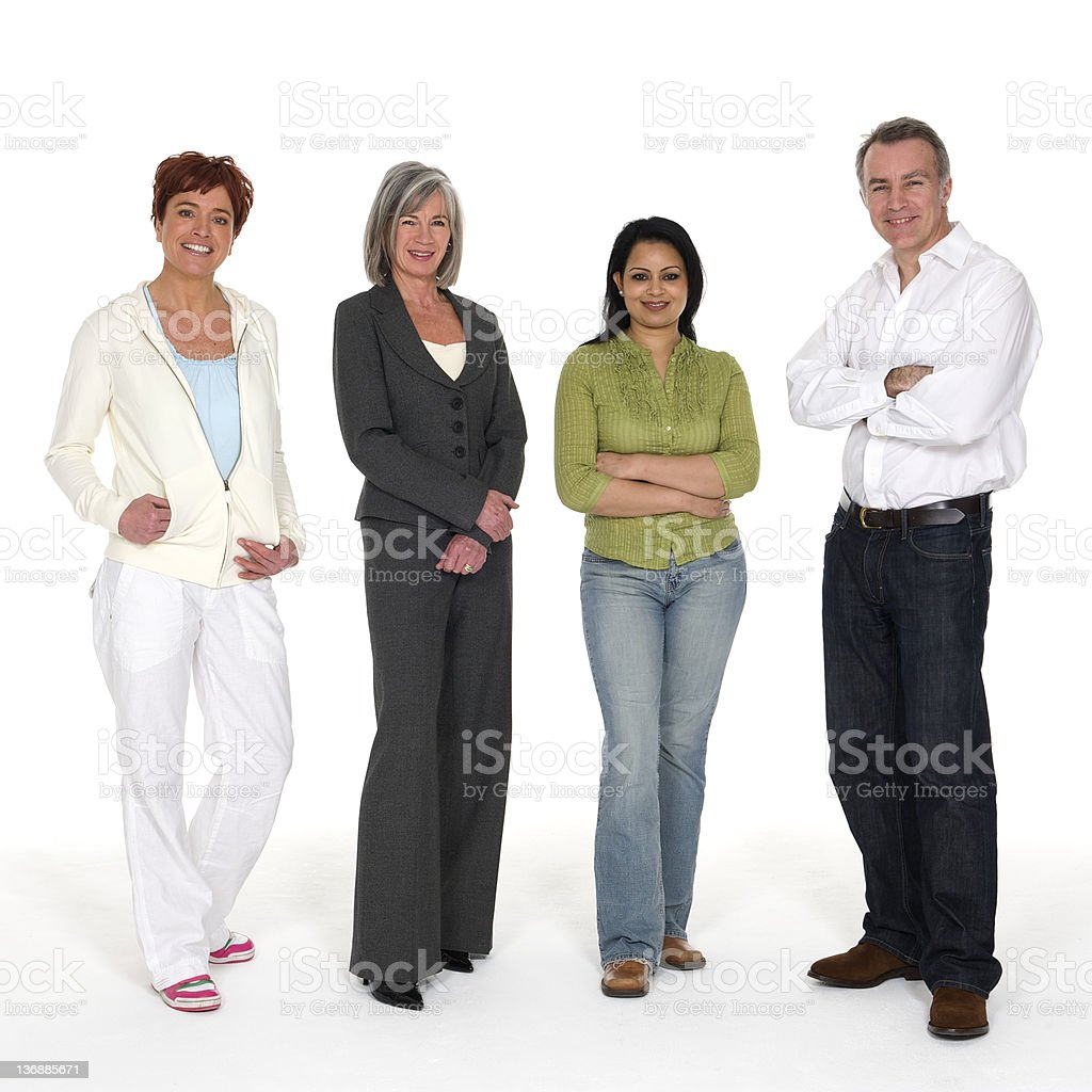 Multiracial group of four people stock photo