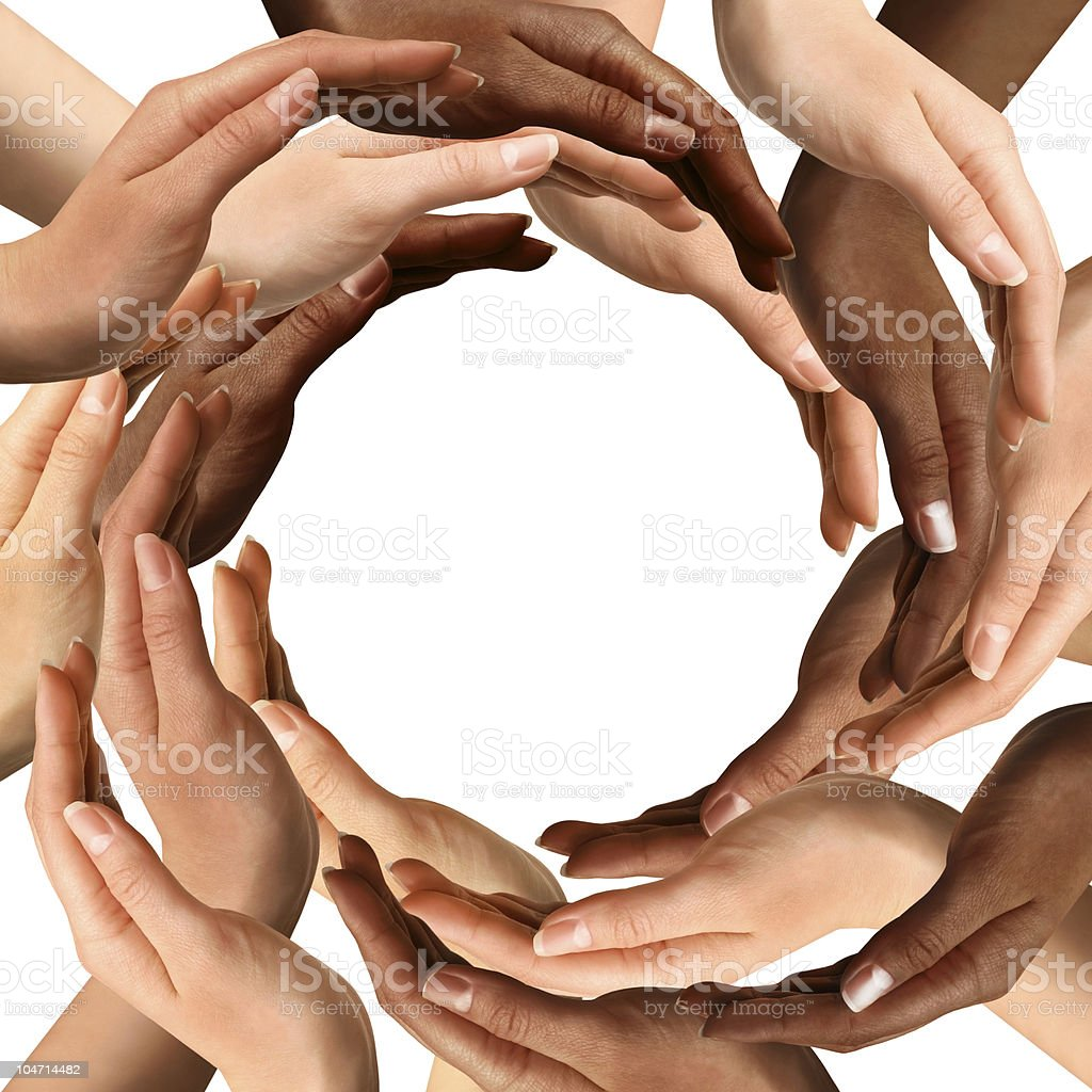 Multiracial Hands Making a Circle stock photo