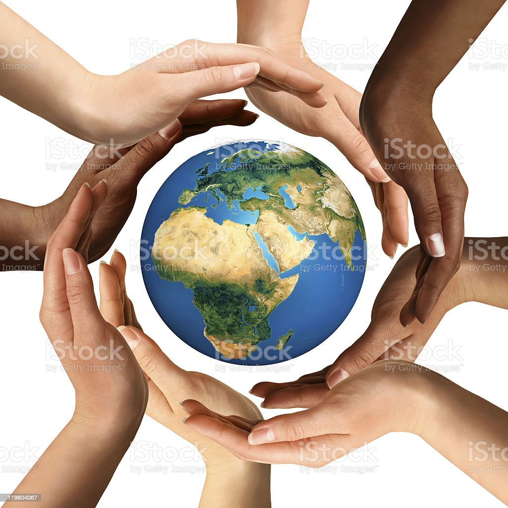 Multiracial Hands Surrounding the Earth Globe stock photo
