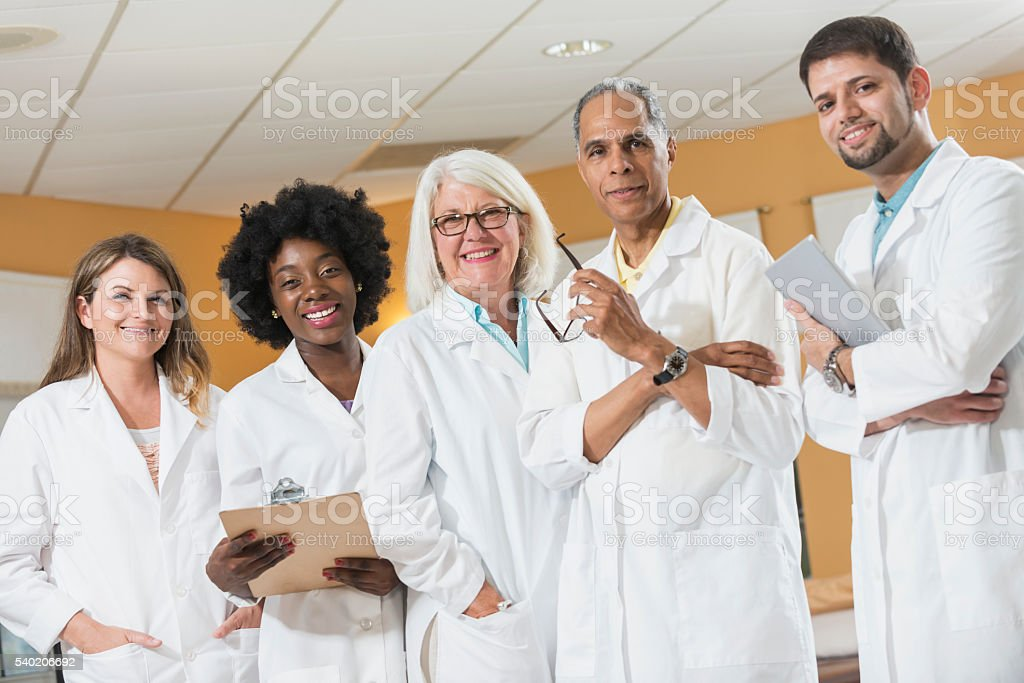 Multi-racial medical team stock photo