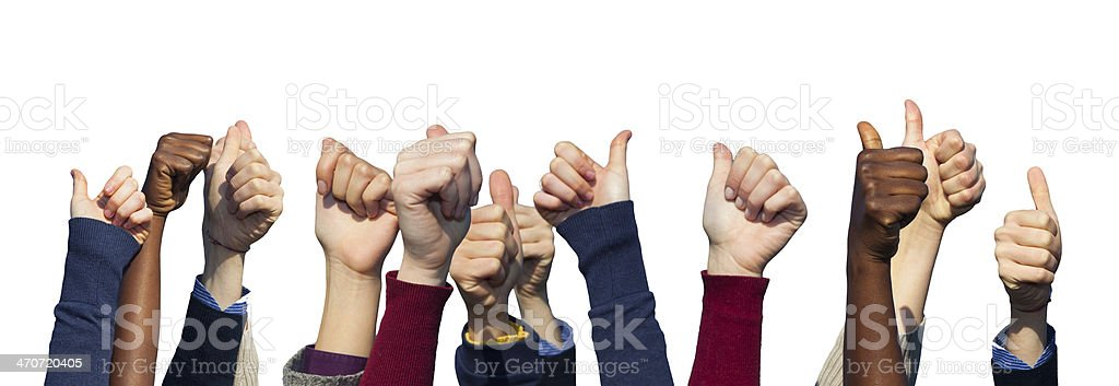 Multiracial Thumbs Up on White Background stock photo