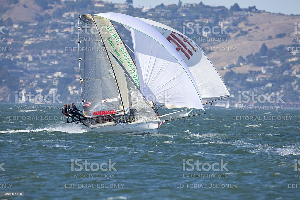 Multi-Sailed Racing Skiff royalty-free stock photo