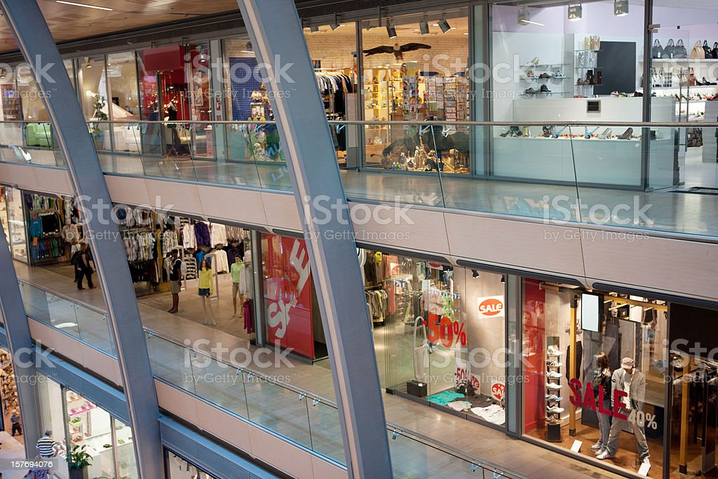 Multistorey shopping center stock photo