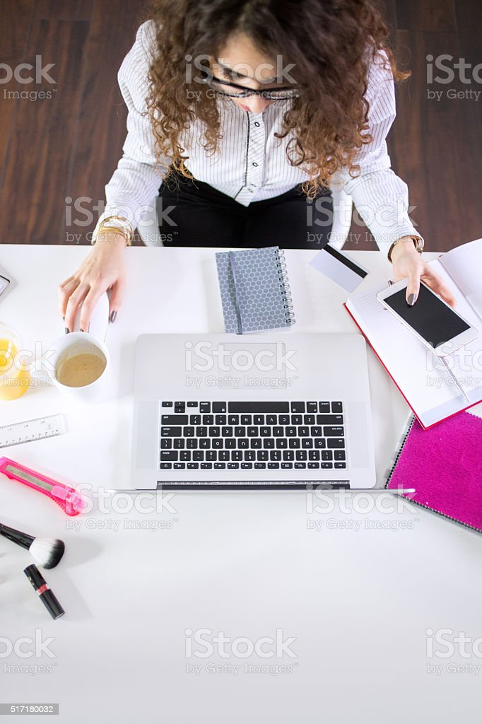 Multitasking at job! stock photo