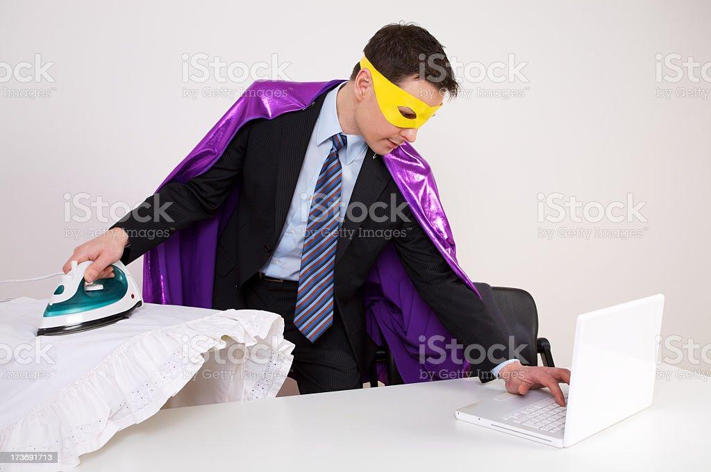 Multitasking Buisiness Hero royalty-free stock photo