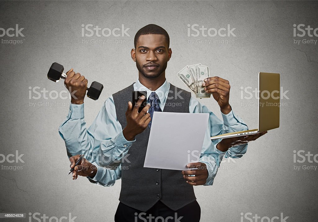 Multitasking business man busy executive stock photo