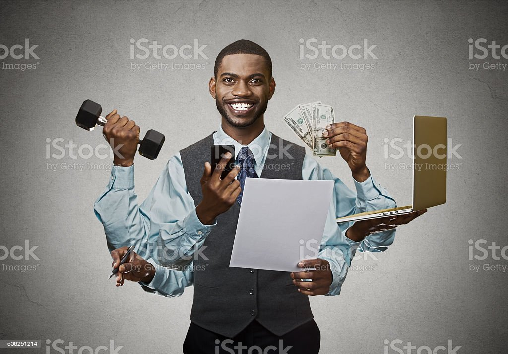 Multitasking business man stock photo