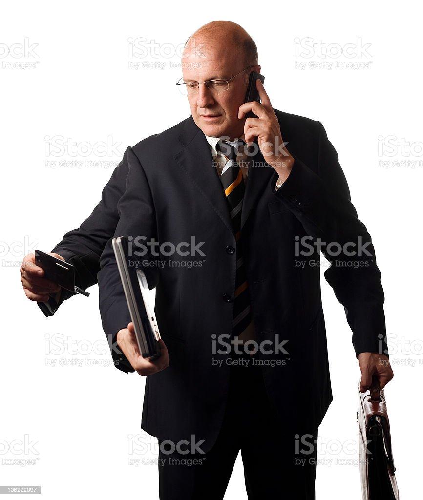 Multitasking Businessman, Isolated on White royalty-free stock photo