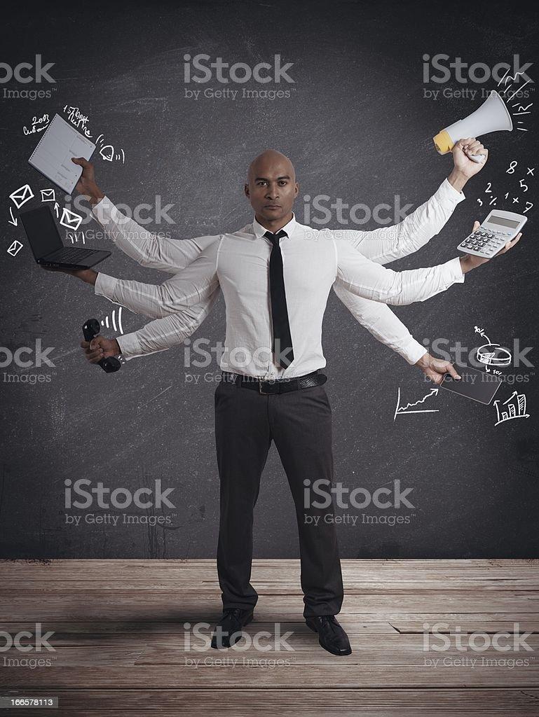 Multitasking businessman royalty-free stock photo