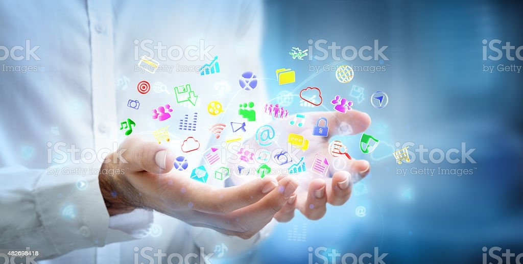 multitasking concept - apps in the hands stock photo
