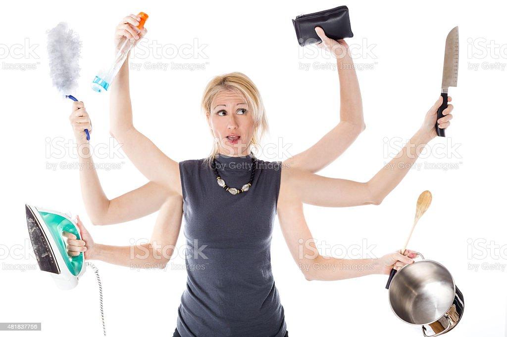 Multitasking housewife stock photo