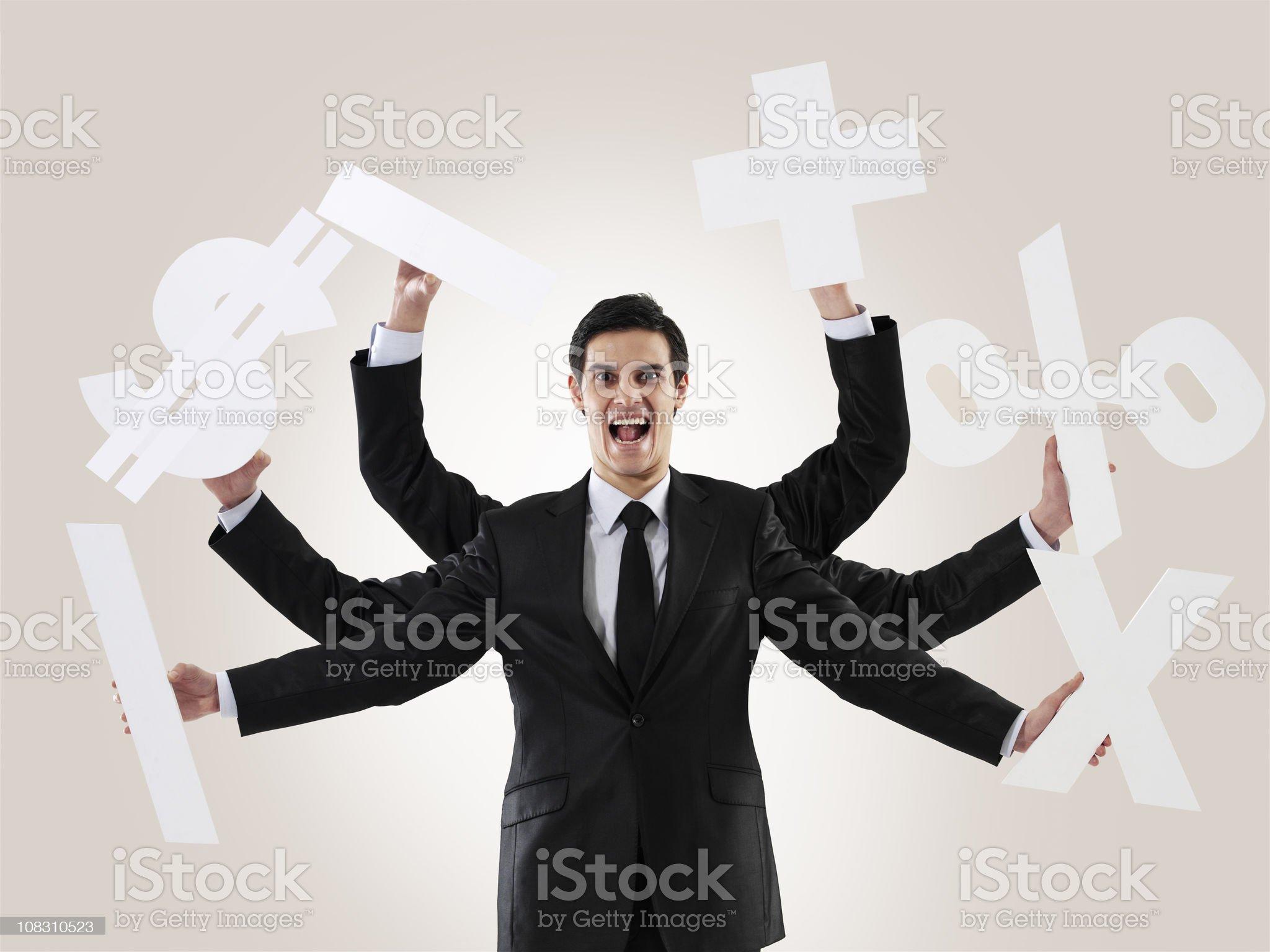Multi-tasking man royalty-free stock photo