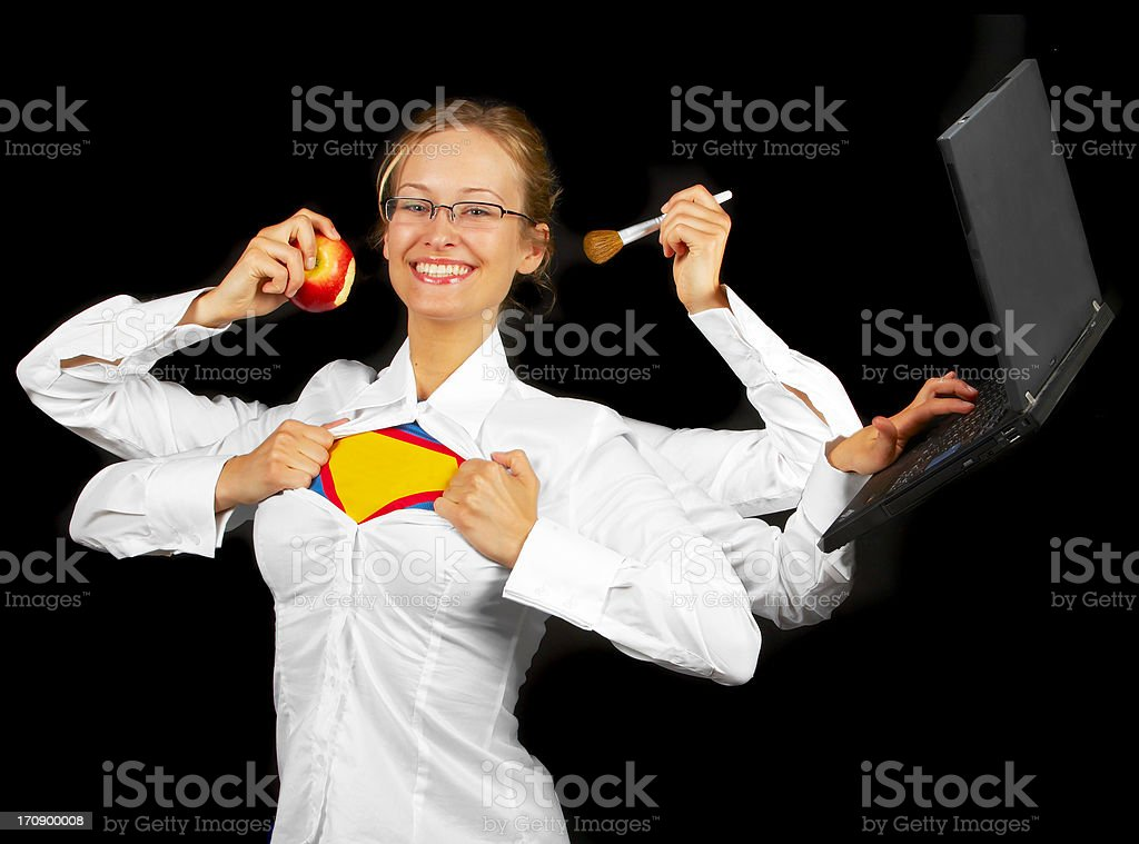 Multitasking woman with multiple arms. royalty-free stock photo