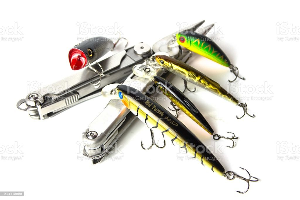 Multi-tool and lures. stock photo