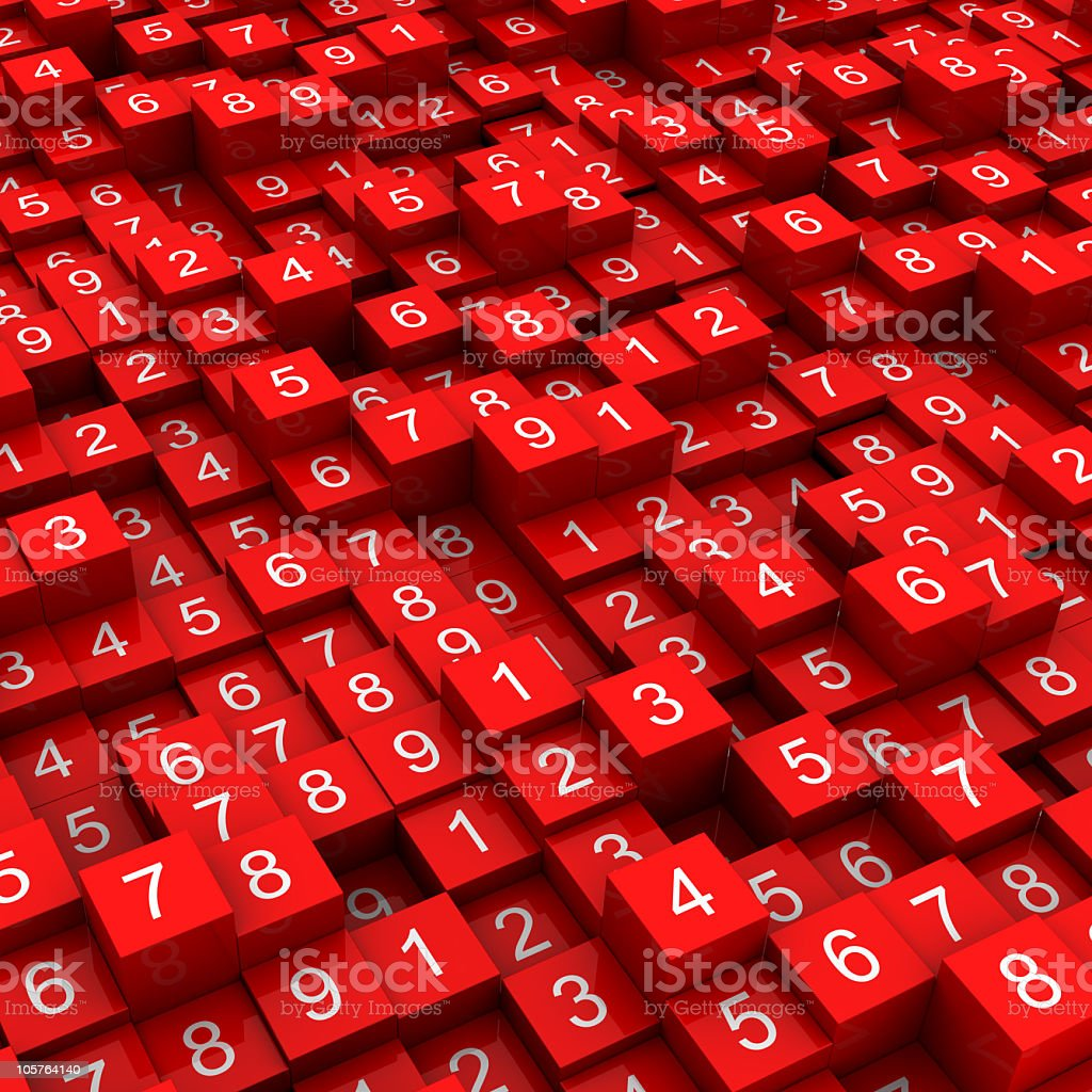 Multitude of red blocks with various numbers on them stock photo