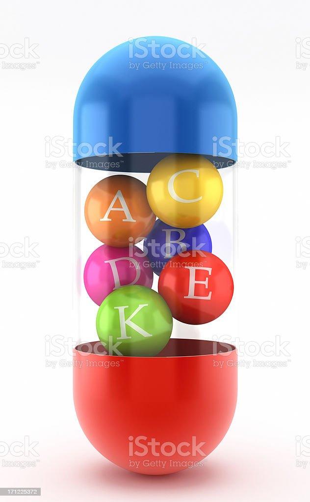 Multi-vitamin pill stock photo