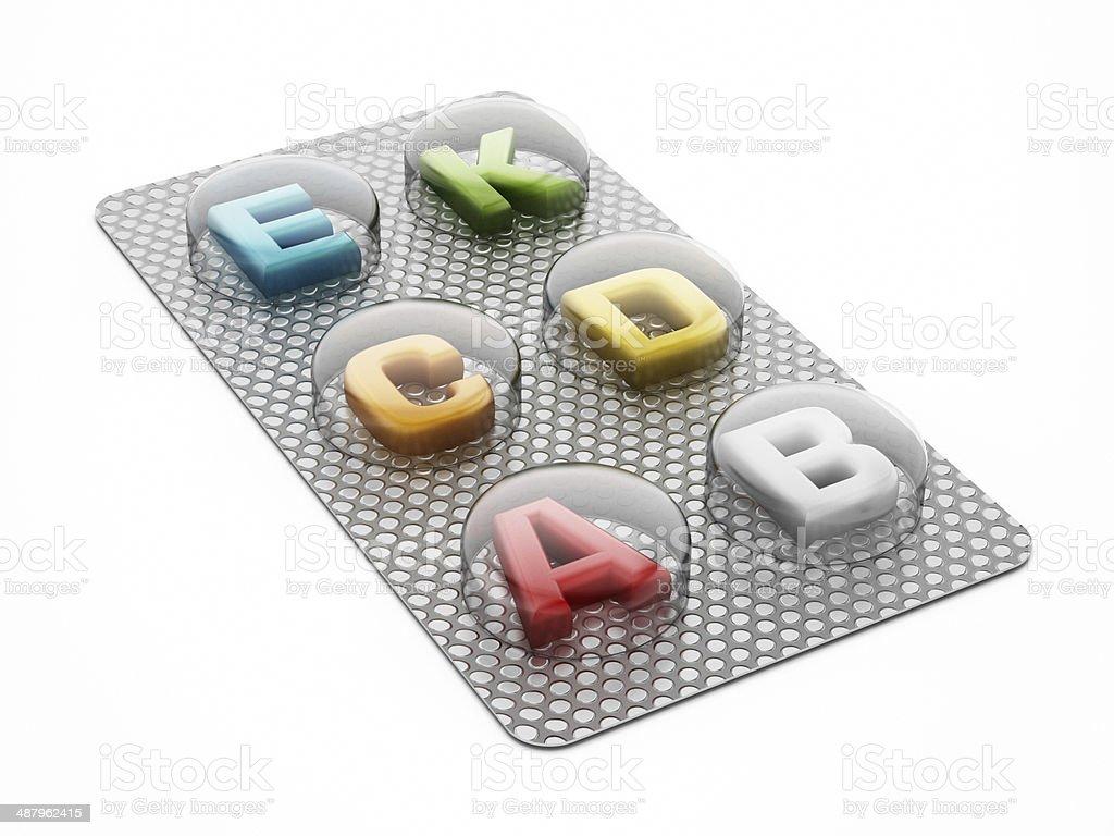 Multi-vitamin pills royalty-free stock photo