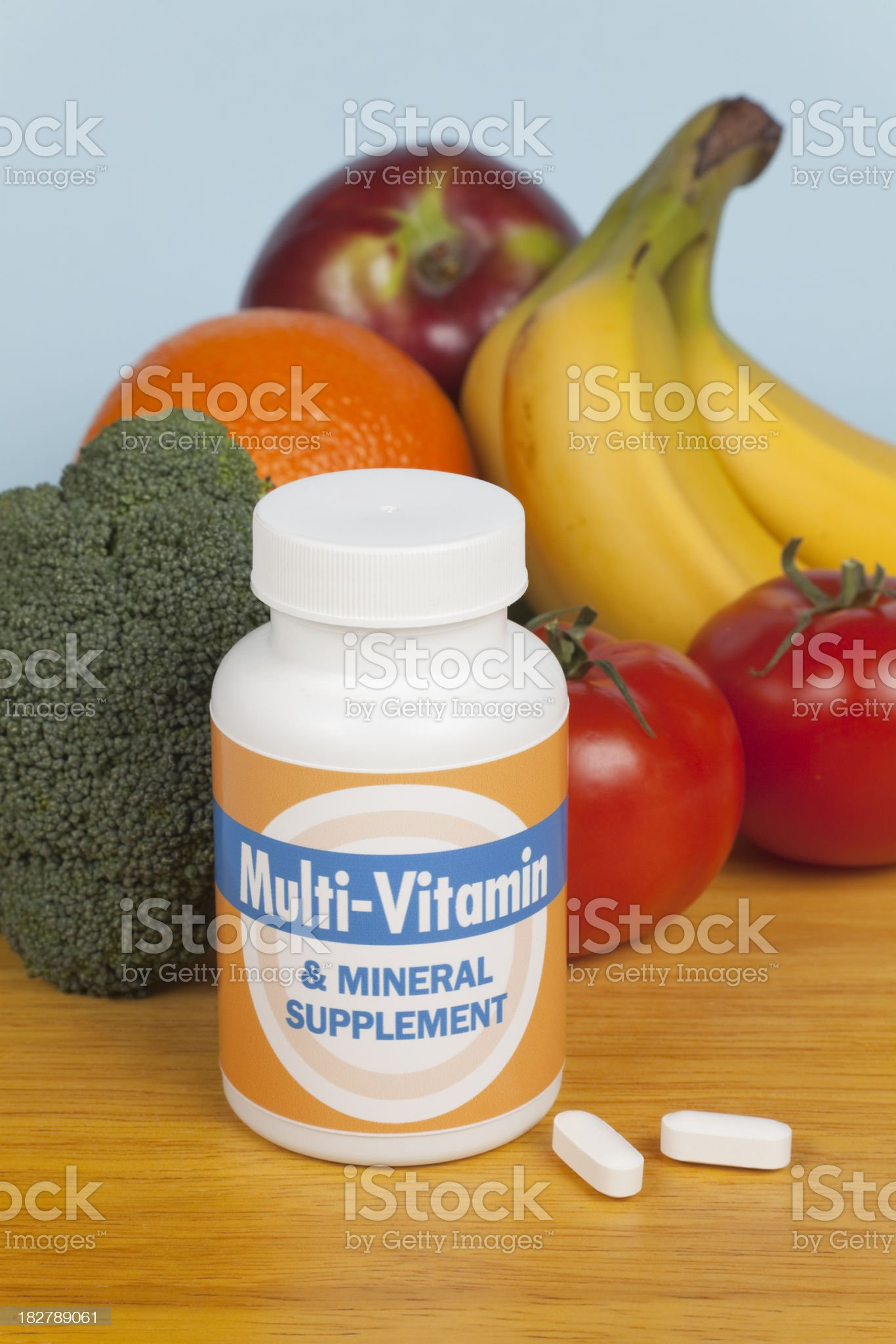 Multi-Vtamins, Fruit and Vegetables royalty-free stock photo