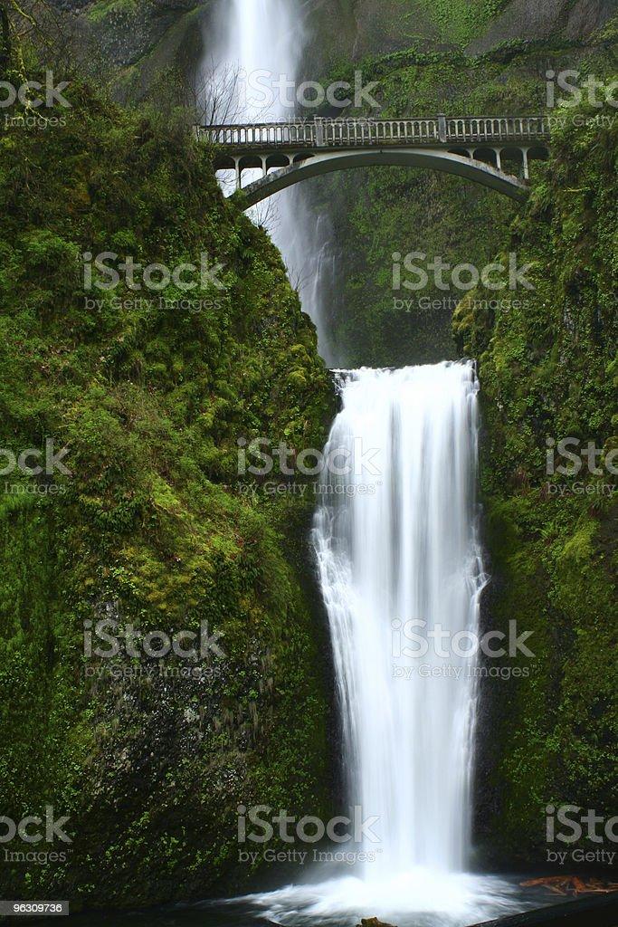 Multnomah falls and bridge stock photo