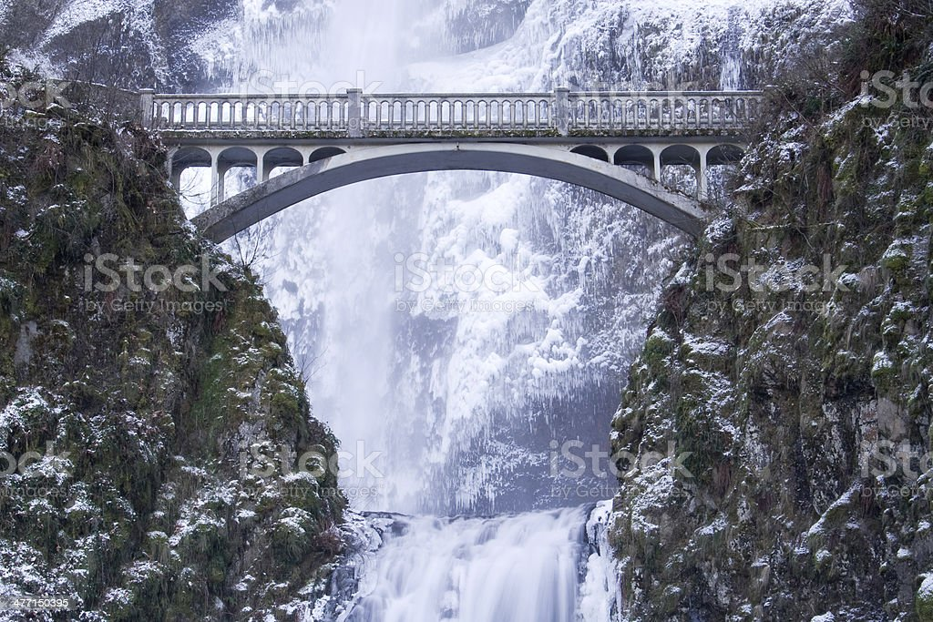 Multnomah Falls Frozen stock photo