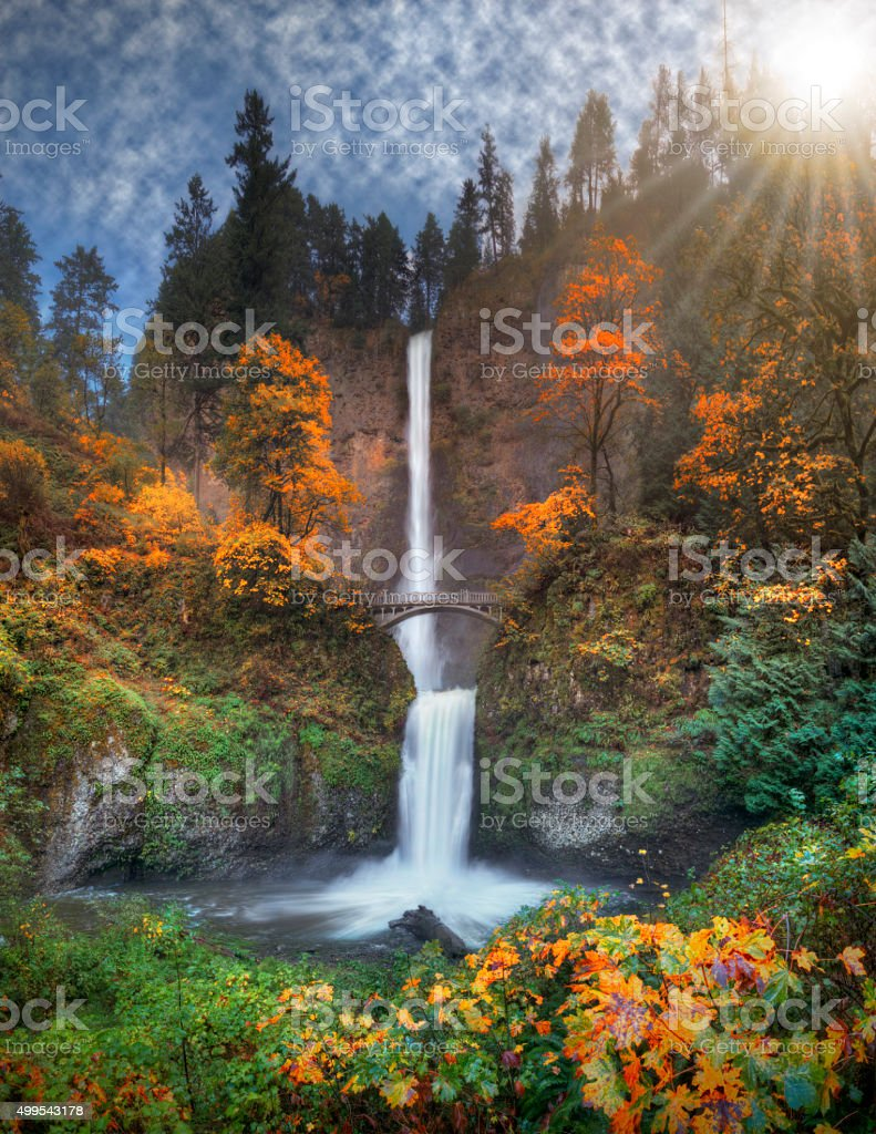 Multnomah Falls in autumn colors high resolution stock photo