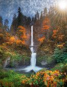 Multnomah Falls in autumn colors high resolution