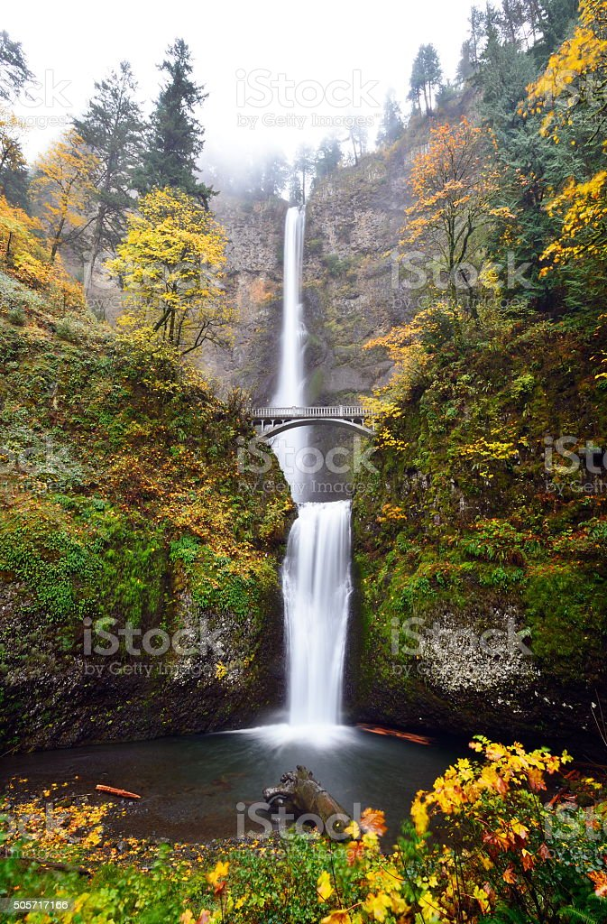 Multnomah Falls in Autumn stock photo