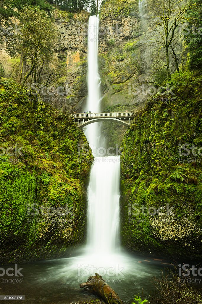 Multnomah waterfall near Portland, Oregon stock photo