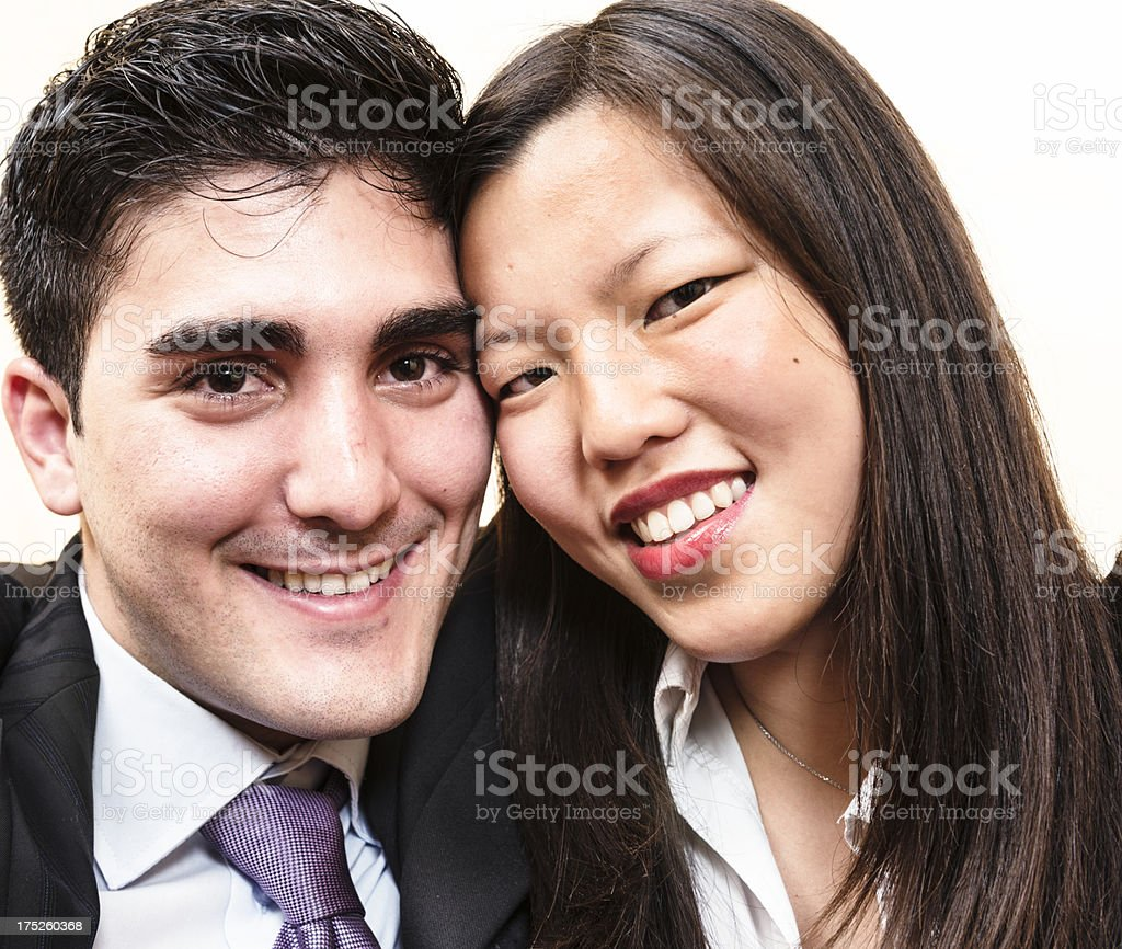 Multuracial Couple smiling for St. Valentine day royalty-free stock photo