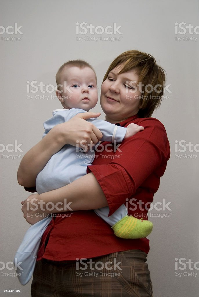 Mum and the son in green sock. royalty-free stock photo