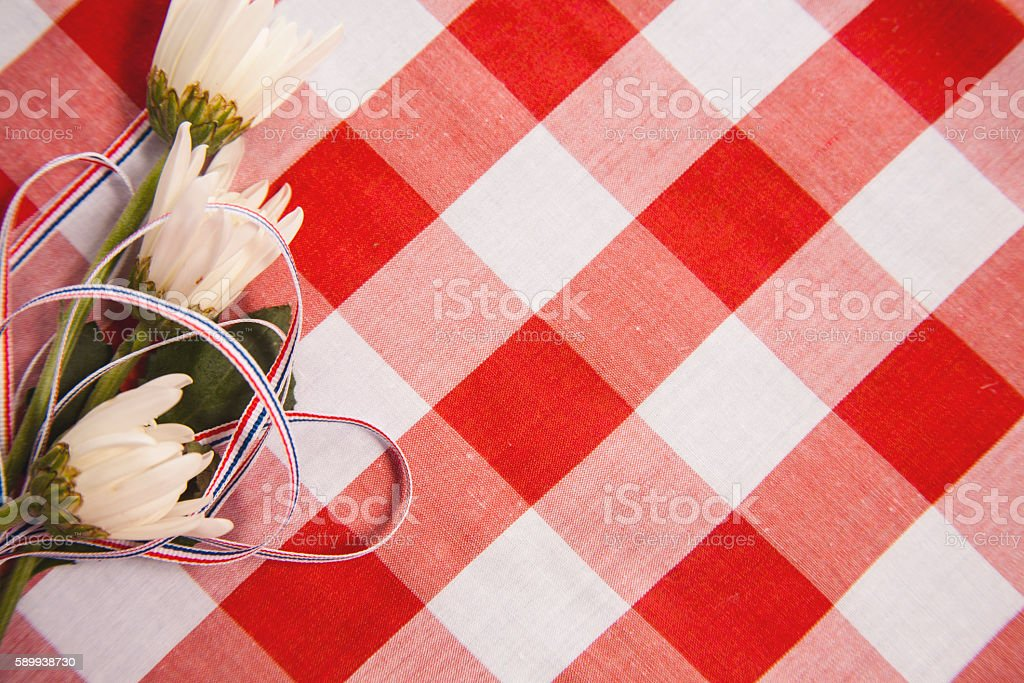 Mum flowers with USA patriotic ribbon on red checked fabric. stock photo