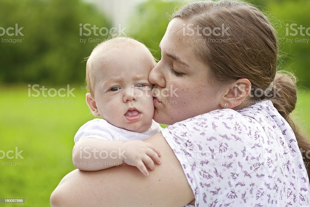 mum walks with the child royalty-free stock photo