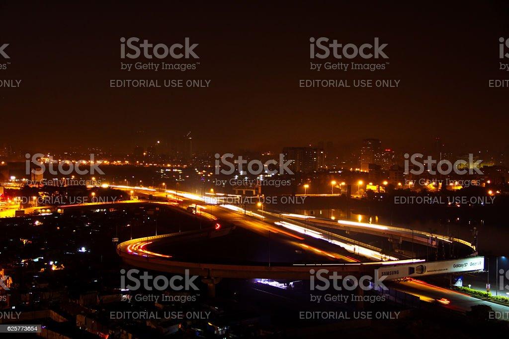 Mumbai cityscape at night stock photo