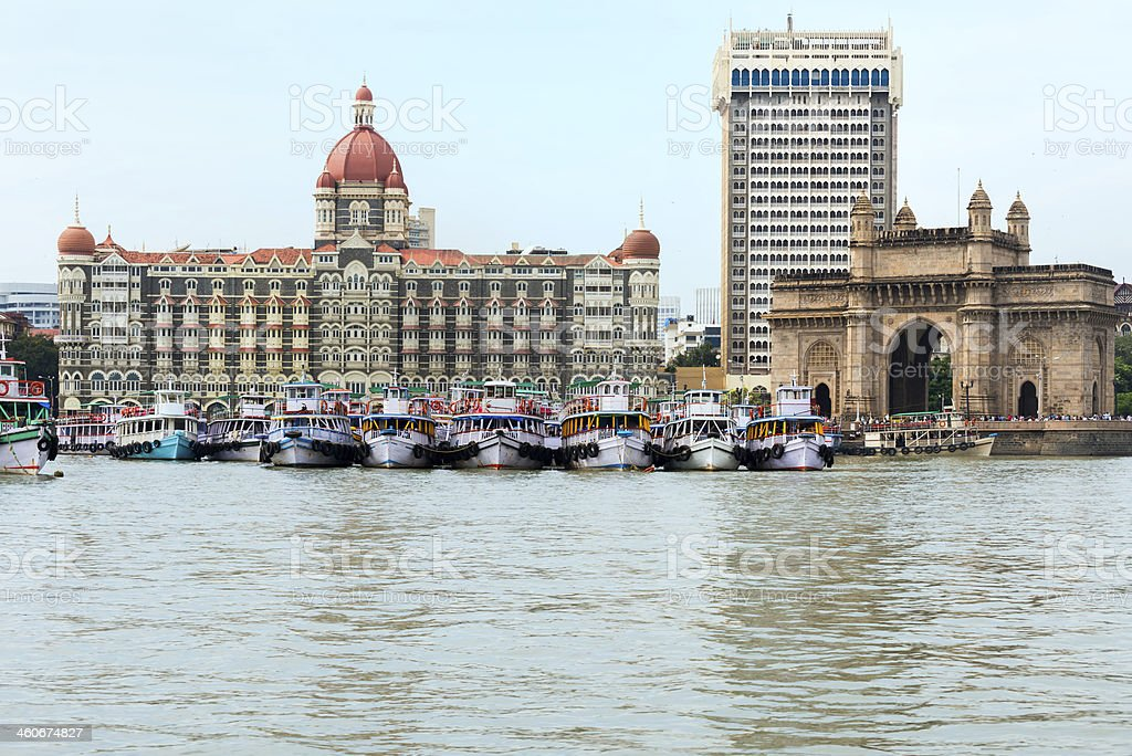 Mumbai Harbour, Taj Mahal Palace Hotel and Gateway of India stock photo