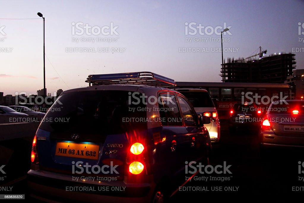 Mumbai - Stuck in traffic stock photo