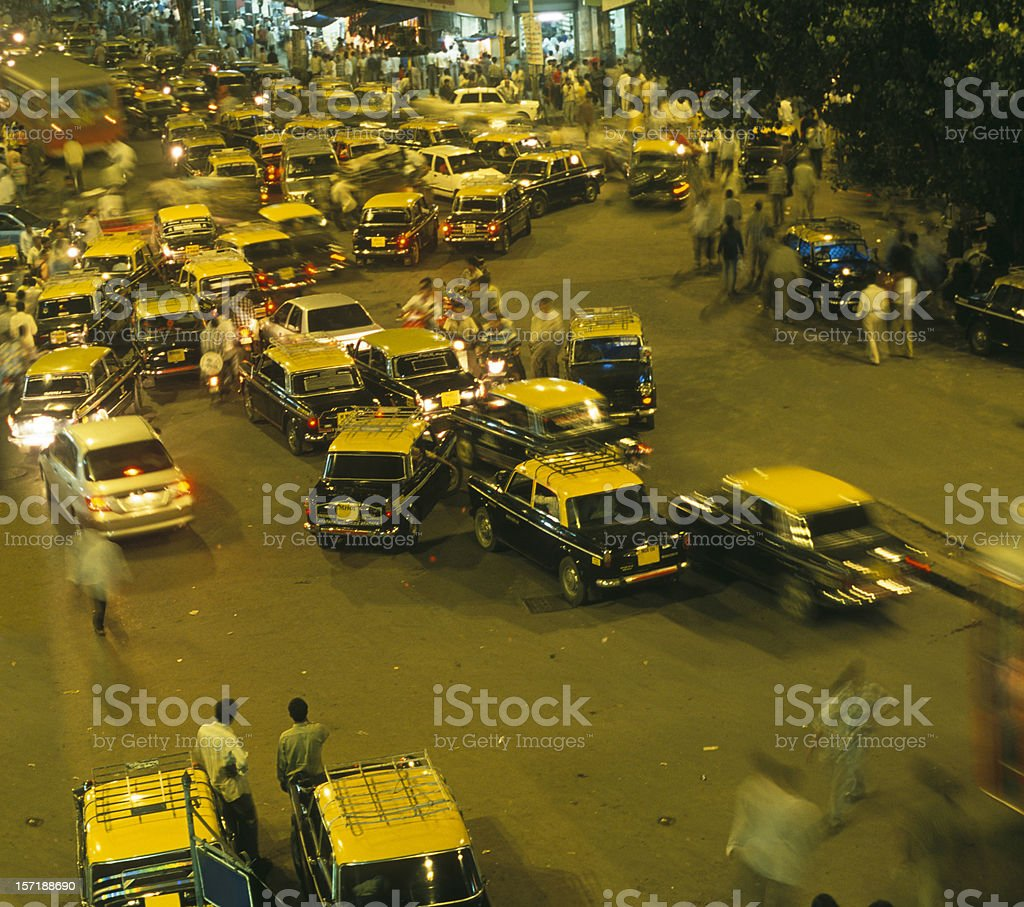 Mumbai, taxi, cabs, traffic, noise, pollution, welcome to Bombay stock photo