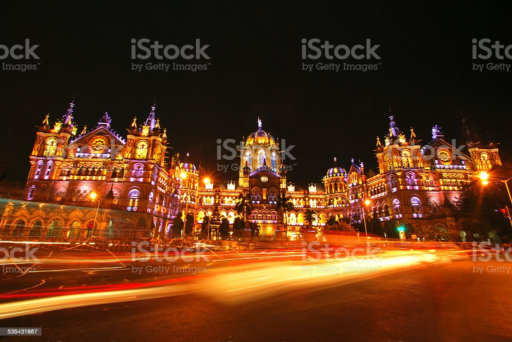 Mumbai's Chatrapati Shivaji Terminus illuminated at night. With copy space. stock photo