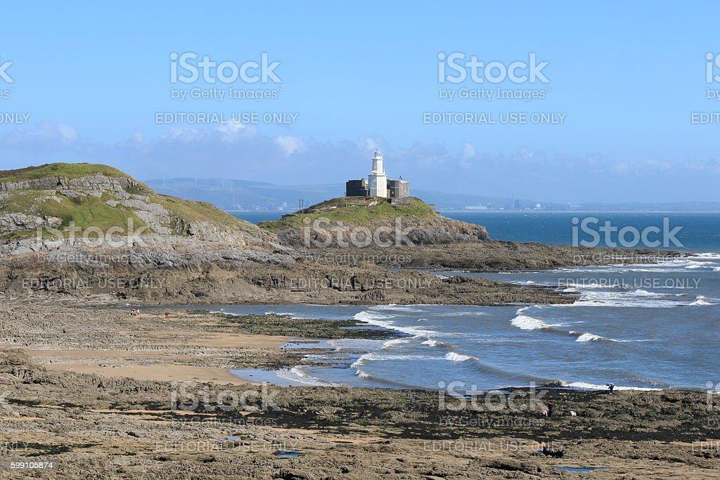 Mumbles Lighthouse Bracelet Bay Swansea stock photo