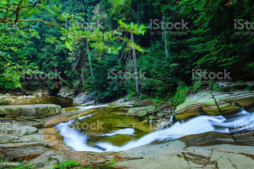 Mumlava river in the Karkonosze National Park, Harrachov. stock photo