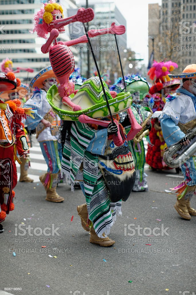 Mummers parade on New Years Day stock photo