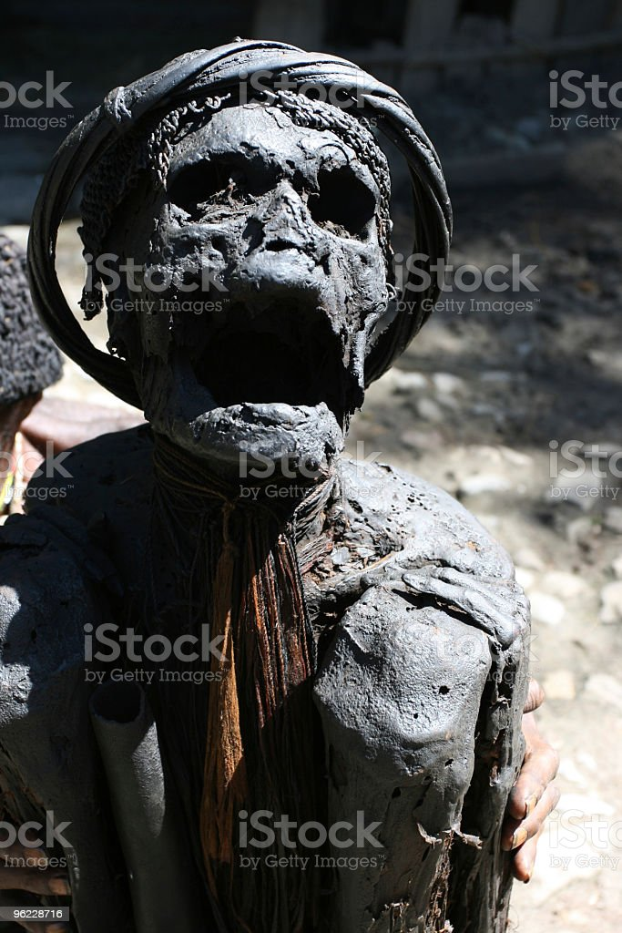 Mummified tribesman from New Guinea stock photo